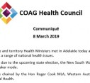 COAG Health Council | Communiqué 8 March 2019