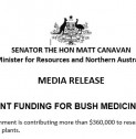 Media Release | GOVERNMENT FUNDING FOR BUSH MEDICINE RESEARCH
